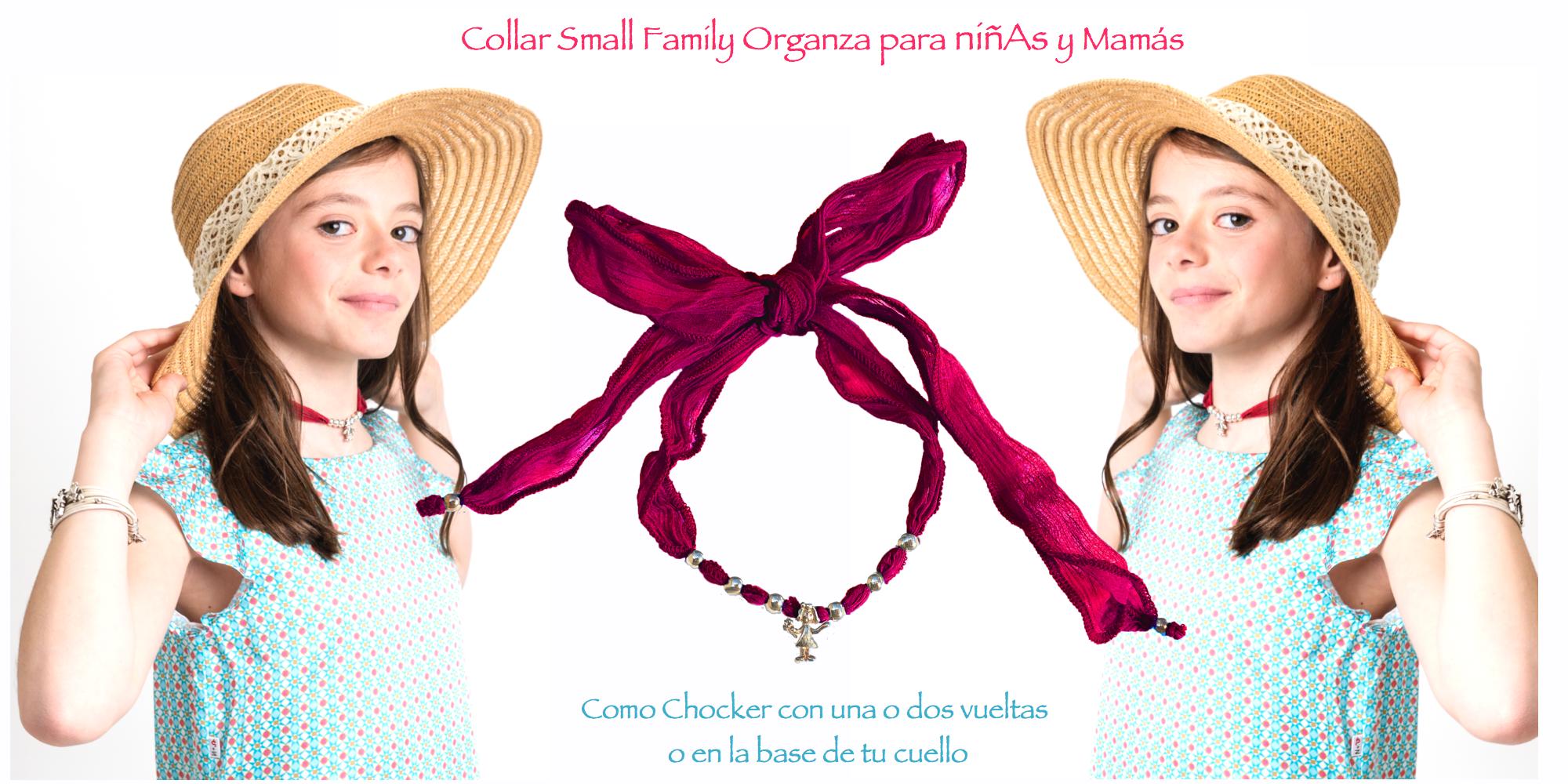Patricia con su collar Small Family Organza y pulsera Small Family Classic