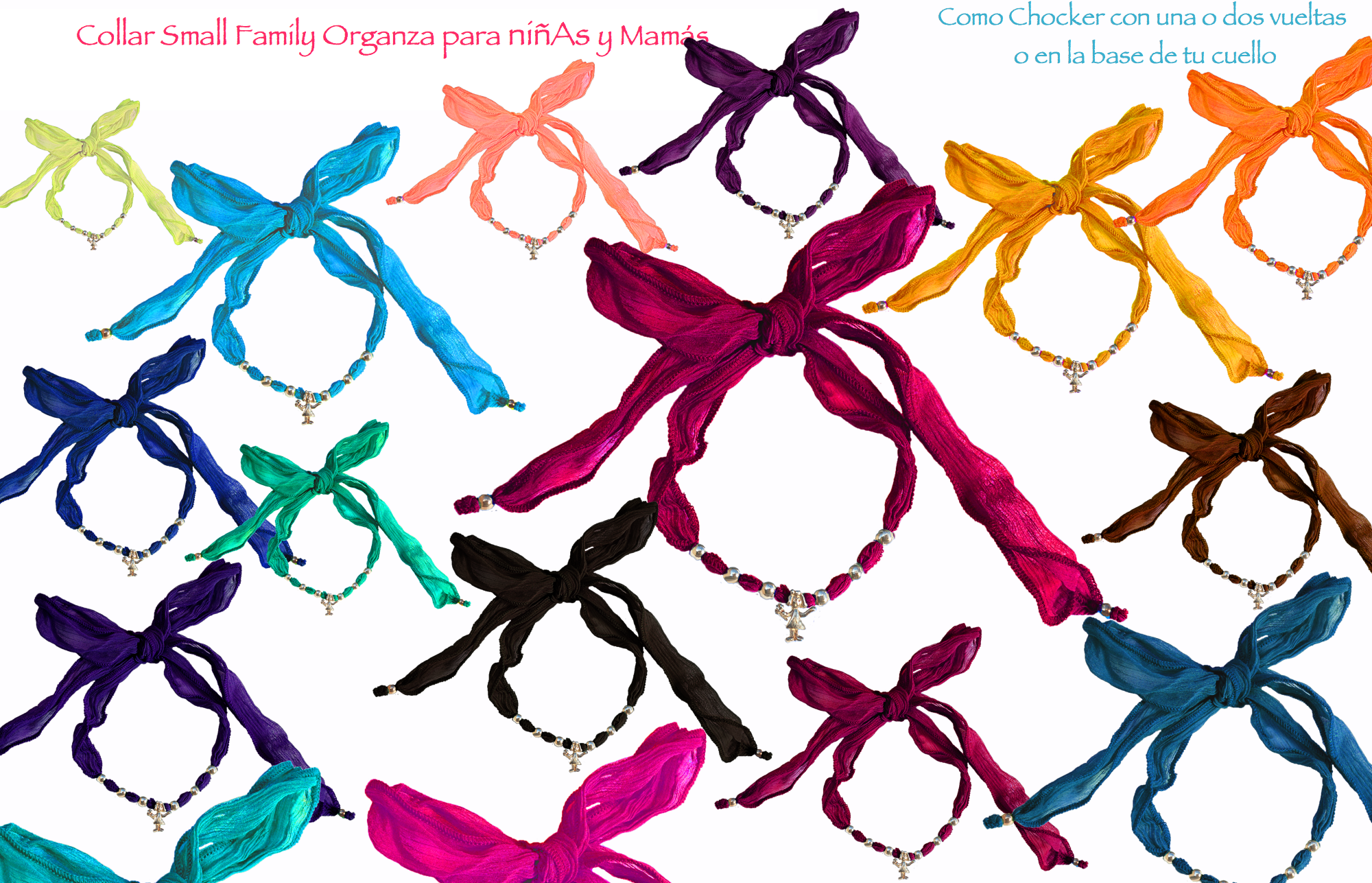Colors chokers gasa small family Organza